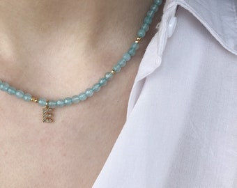 Gold amazonite and hematite choker with gold initial pendant with zircons