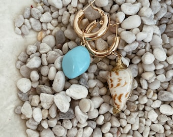 Earrings with rounded brass circles and natural turquoise stone and shell pendants