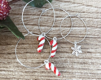 Christmas edition - Brass hoop earrings with candy cane and snowflake pendants