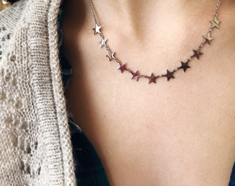 Silver - plated necklace with mini stars