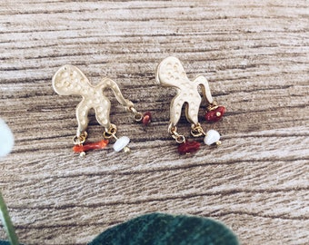 Brass earrings with octopus and hanging corals