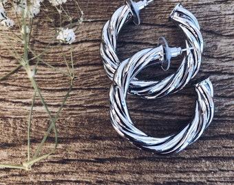 Gold-plated steel hoop earrings
