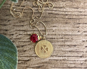 Necklaces with 925 silver chain, good luck pendant and enameled ladybird