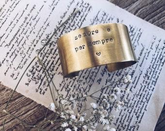 Large rigid bracelet in hand-engraved brass