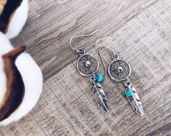 Dream catcher earrings in silver and golden brass