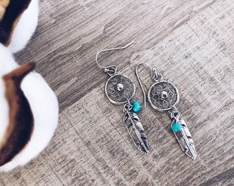 Dream catcher earrings in silver and golden brass