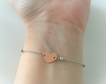 Fully silver 925 silver bracelet with silver and pink gold