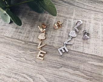 Drop earrings with love zircon script