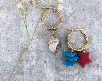 Silver plated brass hoop earrings with natural shell, turquoise chips stones and stone star