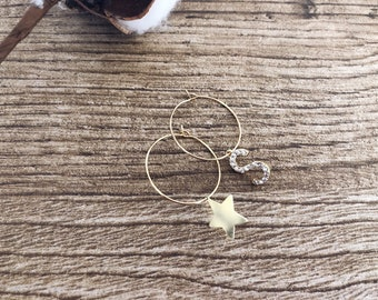 Brass hoop earrings with initial brass pendant with cubic zirconia and star in gold-plated 925 silver