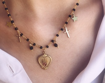 Necklace with brass rosary chain, vintage sacred heart, crosses and stars