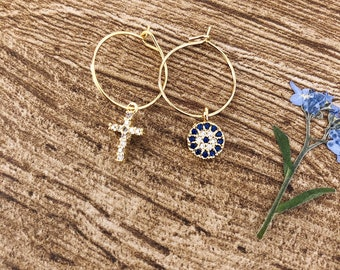 Mini brass hoop earrings with Greek eye pendants and cross with cubic zirconia