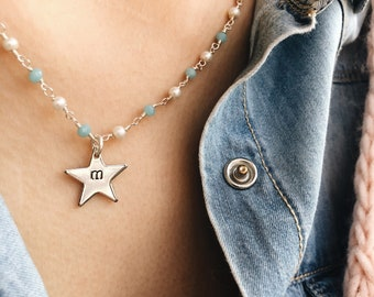 Necklaces with brass rosary chain and little stars with hand-engraved initials