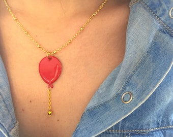 Brass necklace with enamelled balloon pendant