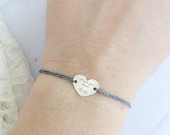 Bracelet with glitter cord and pendant in 925 silver with engraving