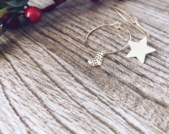 Winter Wonderland - Earrings in gold-plated brass with star and sock in 925 silver