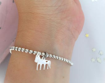 Dream Big - Unicorn bracelet with 925 silver beads