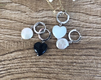Hoop earrings with zircon, natural pearl and agate heart