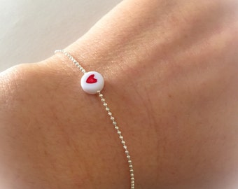 925 silver bracelet with red or black heart bead