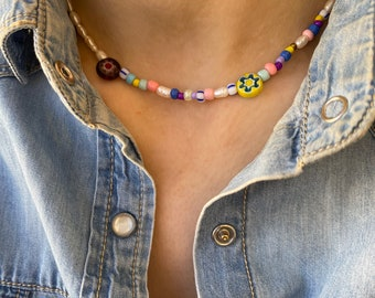 Necklaces with colored resin beads, river pearls and Murano beads