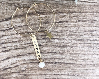 Brass hoop earrings with star pendant and hand-engraved plaque
