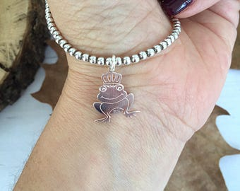 Fully 925 silver bracelet with frog pendant