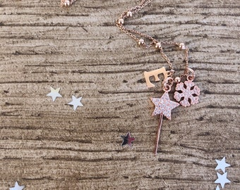 925 silver necklace with magic wand, snowflake and smooth initial