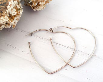 Heart earrings in stainless steel