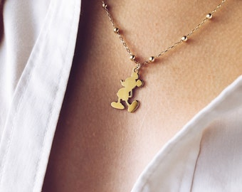Limited Edition - Necklace entirely made of 18k gold, 18k gold and Mickey Mouse pendant