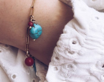 Sea themed multicharm golden steel chain bracelet