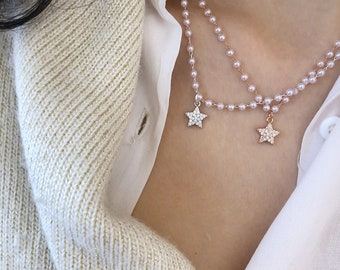 Necklace with chain with beads and star pendant in 925 silver with cubic zirconia
