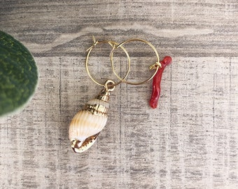 Brass circle earrings, mini natural shell and coral