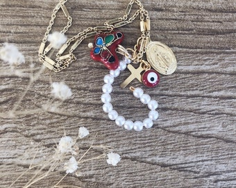 Multicharm necklaces with vintage beaded initial and pendants - unique pieces