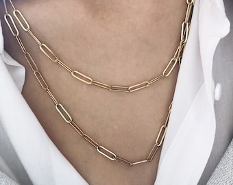 Necklaces with gold steel chain in various sizes