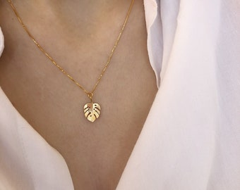 Necklace with Venetian chain in gold-plated 925 silver with monstera pendant