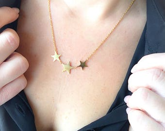 Gold-plated necklace with three star pendants