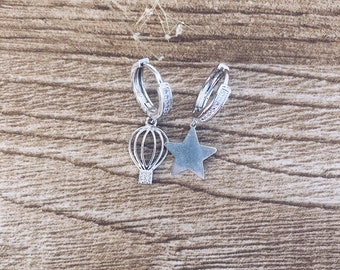 Earrings entirely in 925 silver with mini circle with cubic zirconia, hot air balloon pendant and star