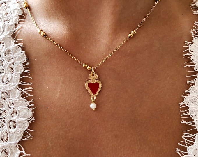 Featured listing image: Necklace with chain with golden steel beads and ex voto enamelled pendant
