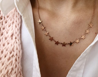 Rose gold - plated necklace with mini stars