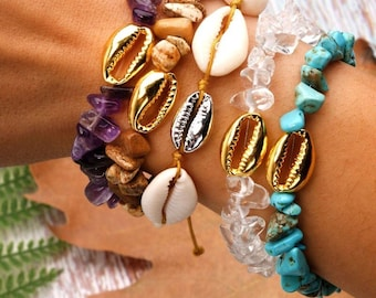 Brass shells bracelets and stones chips