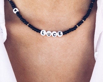 Necklace with resin beads and letters to customize