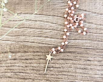 Necklace with smooth chain or rosary and magic wand rose gold bath