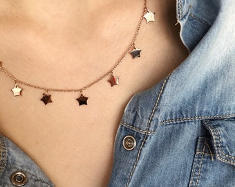 Rosé steel necklace with mini hanging stars and chain with mini beads