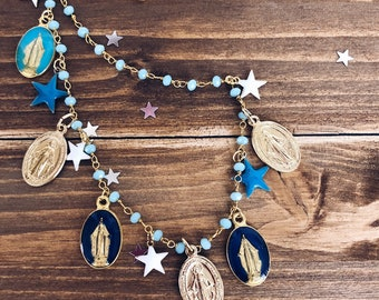 Necklace with brass rosary chain, enameled madonnine pendants, aluminum stars and madonnines