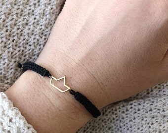 Limited Edition - Bracelet with macramé string and barchetta pendant in 925 silver bathed in 18k gold