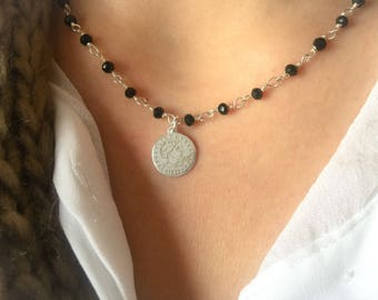 Necklace with rosary chain and coin pendant