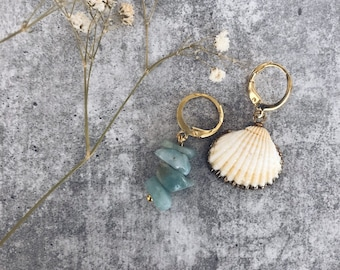 Mini circles earrings in gold plated brass, natural shell and chips stones in aquamarine