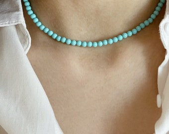 Turquoise paste necklace and 925 silver clasp