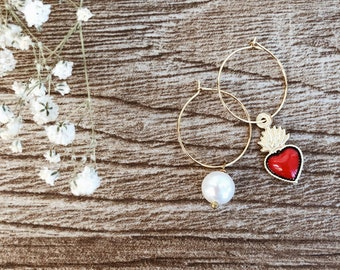 Gold-plated brass hoop earrings with enameled sacred heart and bead pendants