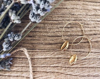 Brass hoop earrings with mini gold wet shell